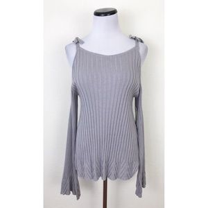 NWT ECI Cold Shoulder Ribbed Bell Sleeve Sweater